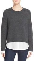 Brochu Walker 'Looker' High/Low Layered Crewneck Sweater