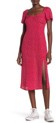 Cotton On Floral Print Front Slit Midi Dress