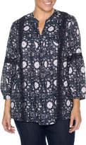 Yarra Trail Woman 3/4 Sleeve Printed Lace Trim Shirt