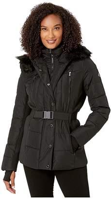 MICHAEL Michael Kors Active Jacket with Logo Belt and Hood A420380TZ (Black) Women's Coat