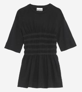 Ganni Viscose Jersey Smock T Shirt Black - 34