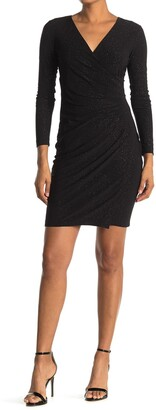 Calvin Klein Glitter Ruched Surplice Long Sleeve Sheath Dress