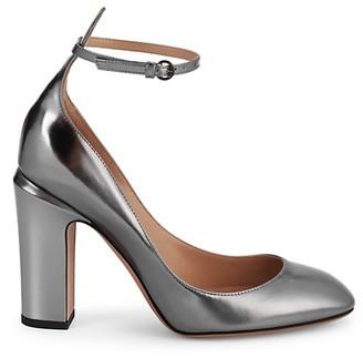 Valentino Tango Block Heel Metallic-Leather Pumps