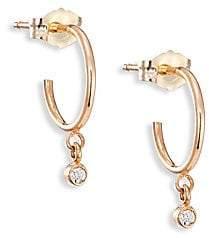 "Chicco Zoë Women's Tiny Diamond & 14K Yellow Gold Hoop Earrings/0.3"""