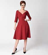 Voodoo Vixen 1940s Style Burgundy Red Three-Quarter Sleeve Laura Swing Dress
