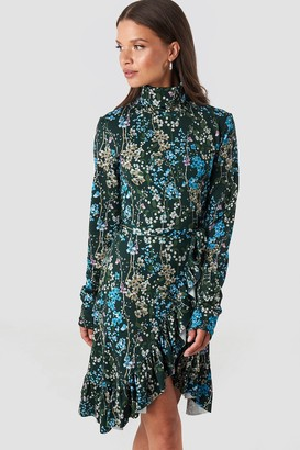 NA-KD High Neck Floral Wrap Dress