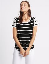 Marks and Spencer Pure Cotton Block Striped T-Shirt