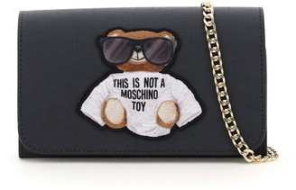 Moschino TEDDY BEAR SUNGLASSES MINI BAG OS Black Faux leather