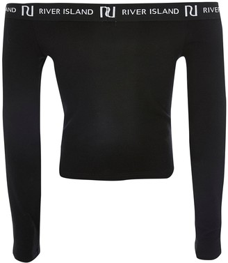 River Island Girls Long Sleeve Bardot Top -Black