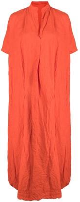 Daniela Gregis Crinkled Flared Linen Dress
