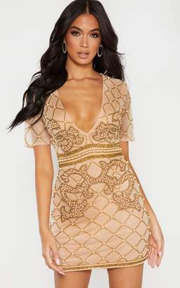 PrettyLittleThing Nude Embellished Beaded Plunge Bodycon Dress