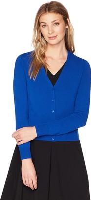 Lark & Ro Amazon Brand Women's Button Down V-Neck Cropped Cardigan Sweater Heather Grey Medium