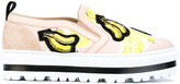 MSGM banana patch platform sneakers - women - Cotton/Leather/rubber - 37