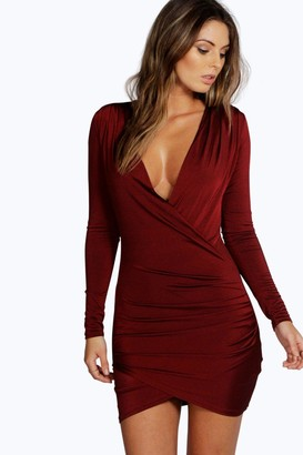 boohoo Slinky Drape Front Sleeve Bodycon Dress