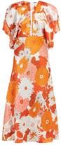 Dodo Bar Or Bernadette Floral-print Silk-jacquard Midi Dress - Womens - Orange Multi