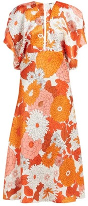 Dodo Bar Or Bernadette Floral-print Silk-jacquard Midi Dress - Womens - Orange Multi