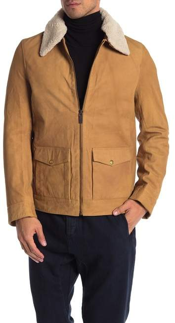 Scotch & Soda Easy Faux Shearling Collar Short Leather Jacket