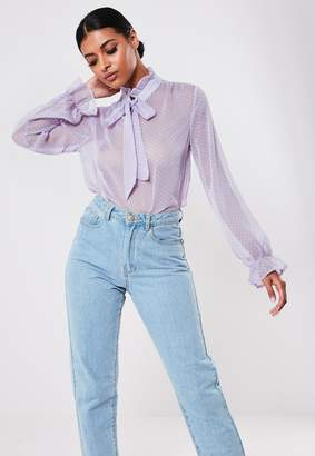 Missguided Lilac Polka Dot Pussy Bow Blouse