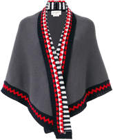 Antonia Zander shawl with geometric print trim