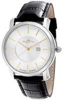 Lindberg & Sons wrist watch for men Quarz movement Suisse made clockwork Analog Black leather bracelet - Date display - LSSM83