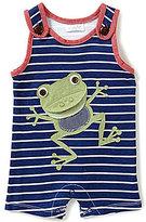 Mud Pie Baby Boys Newborn-6 Months Frog-Appliqued Striped Shortall