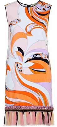 Emilio Pucci Chiffon-trimmed Embellished Printed Cotton-fleece Dress