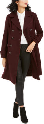 Kenneth Cole Double-Breasted Contrast-Piping Peacoat