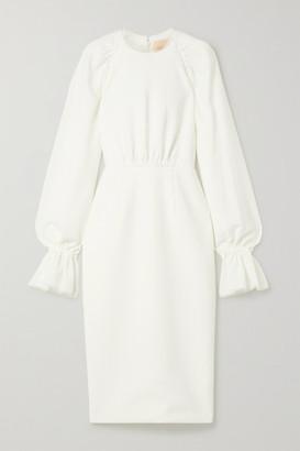 Roksanda Vaniria Tulle-trimmed Gathered Cady Dress - Ivory