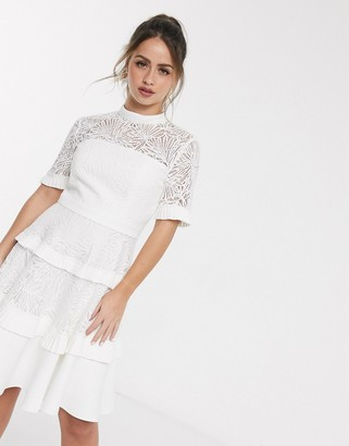 Forever New pleat lace mini dress in white