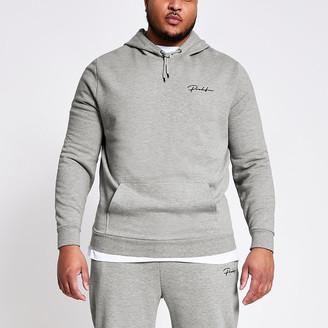 River Island Big and Tall Prolific grey slim fit hoodie