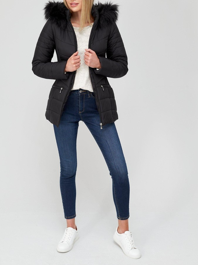 Thumbnail for your product : Very Value Short Padded Jacket With Faux Fur Trim - Black