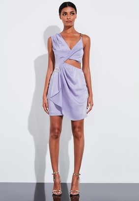 Missguided Lilac Chain Strap Satin Drape Mini Dress