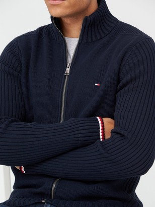 Tommy Hilfiger Bold Structure Zip Through Knitted Jumper - Navy