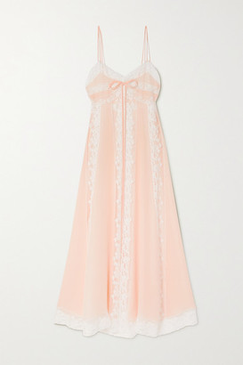 Loretta Caponi Lace-paneled Silk-georgette Nightdress - Pink