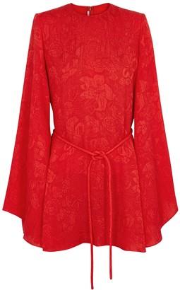 Stella McCartney Delia red floral-jacquard silk mini dress