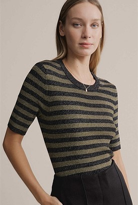 Witchery Lurex Stripe Short Sleeve Knit
