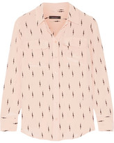Kate Moss for Equipment - Slim Signature Printed Washed-silk Shirt - Blush