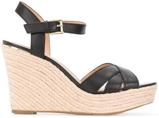 Michael Kors Cross-Strap Woven Wedge Heels