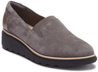 Clarks Sharon Dolly Suede Wedge Loafer