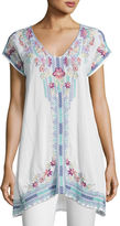 Johnny Was Yassi V-Neck Long Embroidered Tunic