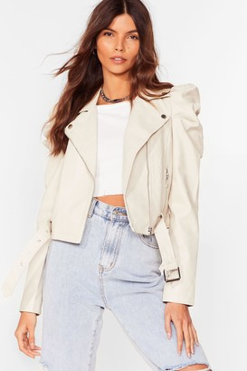 Nasty Gal Womens Act Puff Faux Leather Moto Jacket - White - S, White
