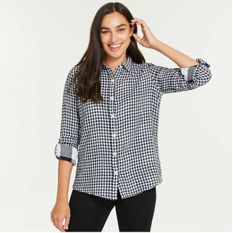 Joe Fresh Women's Classic Fit Buffalo Plaid Tunic, Off White (Size XL)