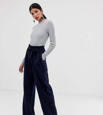 Vero Moda Tall High Tie Waist Pants-Navy