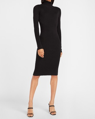 Express Ribbed Turtleneck Midi Sweater Dress