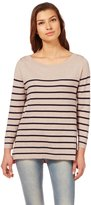 Wool Overs Women's Silk & Cotton Breton Stripe Top Extra Large