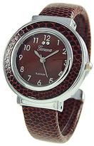 Geneva Platinum Brown Croc-Embossed Cuff Watch