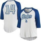 New Era Women's 5th & Ocean by Enrique Hernandez White/Royal Los Angeles Dodgers Plus Size Player Pinstripe Raglan 3/4-Sleeve T-Shirt