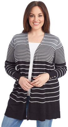 Women's 89th & Madison All Over Ombre Stripe Cardigan
