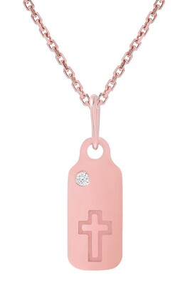 Mini Mini Jewels Icons - Cross Diamond Dog Tag Necklace