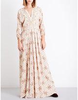 Vilshenko Ladies Cream Printed Concealed Zip Anna Maria Floral-Print Silk Midi Dress